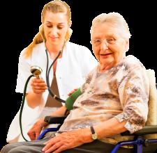 A caregiver smiling